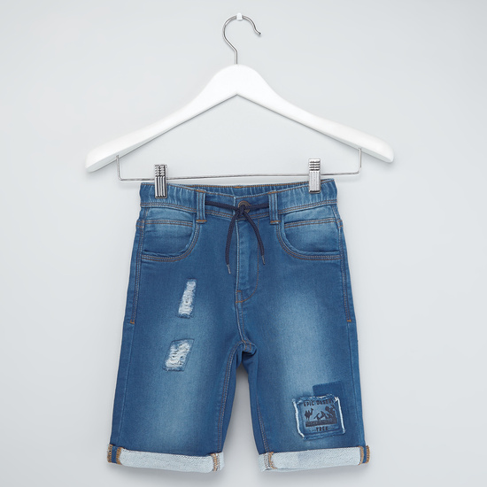 Patch Detail Distressed Denim Shorts with Drawstring