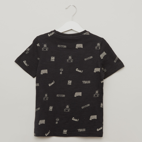 Print Round Neck T-shirt with Shorts