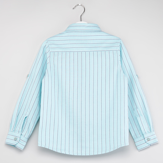 Striped Shirt with Long Sleeves and Spread Collar
