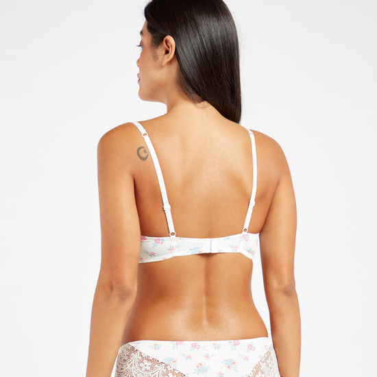 Pack of 2 - Lace Detail Padded Balconette Bra with Adjustable Straps