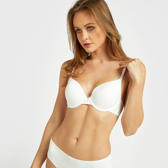 Pack of 2 - Lace Detail Push-Up Bra with Hook and Eye Closure