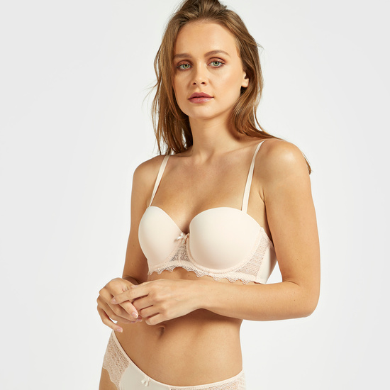 Pack of 2 - Solid Padded Balconette Bra with Hook and Eye Closure