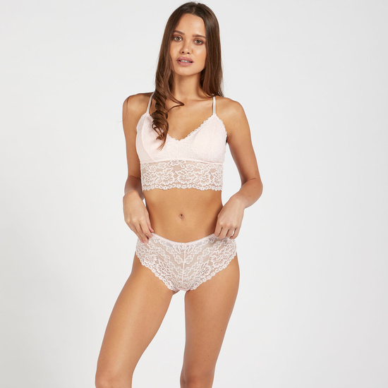 Lace Bralette with V-neck and Cross Straps
