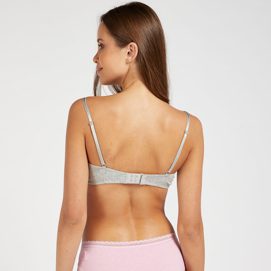 Lace Detail Padded A-frame Bra with Hook and Eye Closure