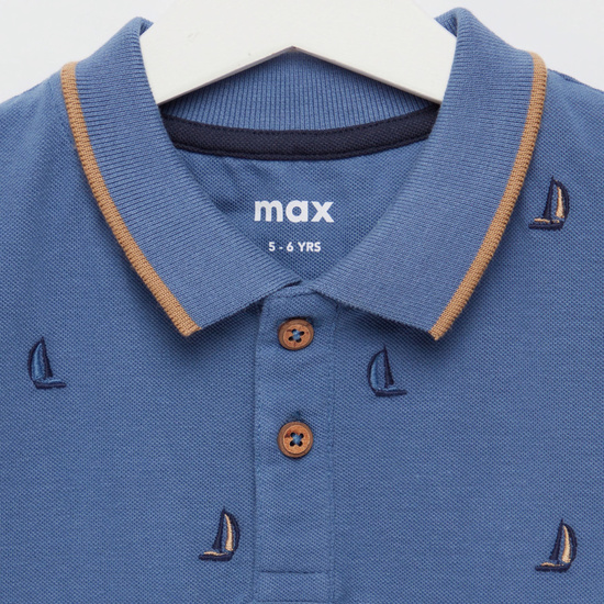All-Over Embroidered Polo T-shirt with Short Sleeves
