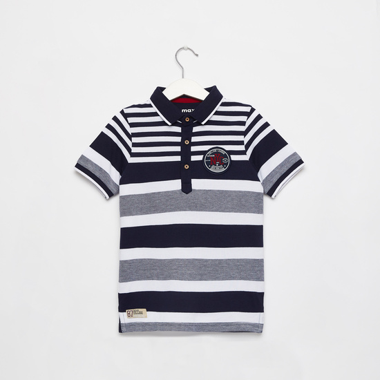 Striped Polo T-shirt with Button Closure and Short Sleeves