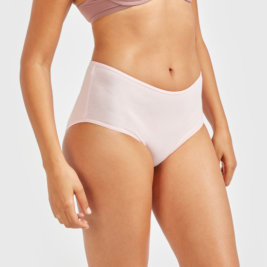 Printed Midi Briefs with Elasticised Waistband - Set of 5