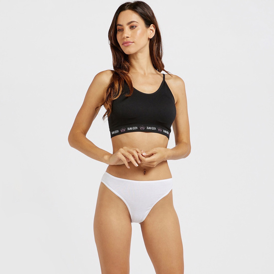 Solid Non-Padded Seamless Sports Bra with Printed Hem