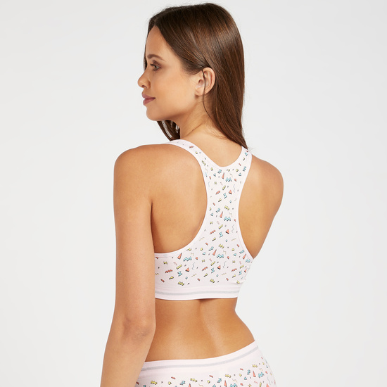 Graphic Print Padded Support Bra with Racerback