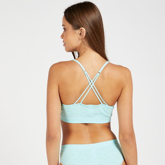 All-Over Star Print Crop Top with Cross Straps