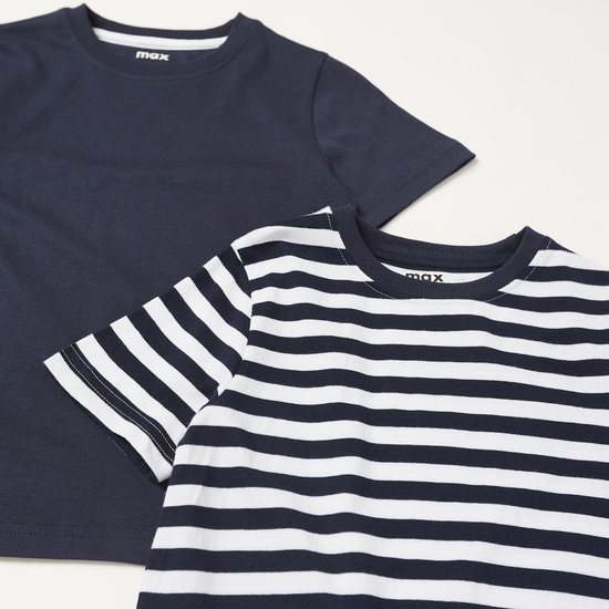 Pack of 2 - Assorted T-shirt with Round Neck and Short Sleeves