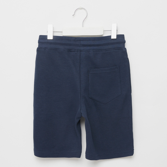 Embroidered Detail Knit Shorts with Pockets and Drawstring Closure