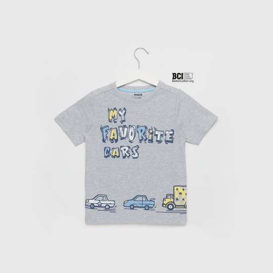 Cars Graphic Print T-shirt with Round Neck and Short Sleeves
