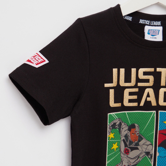 Justice League Foil Print T-shirt with Round Neck and Short Sleeves
