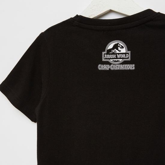 Jurassic World Graphic Print T-shirt with Short Sleeves and Round Neck