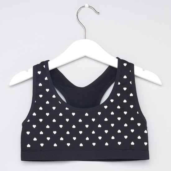 Set of 2 - Heart Print Sports Bra