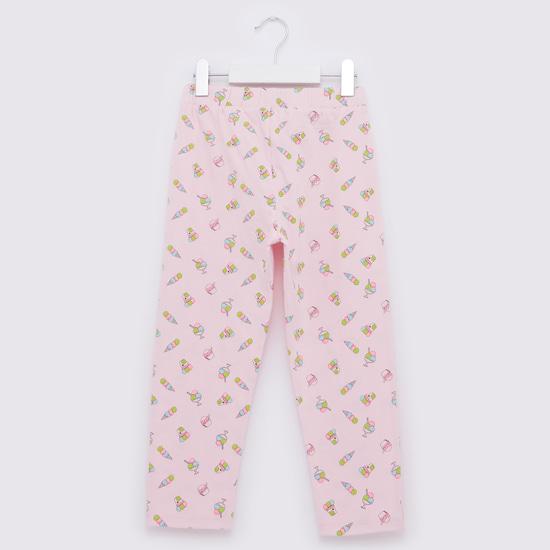 All-Over Print Round Neck T-shirt and Pyjama Set