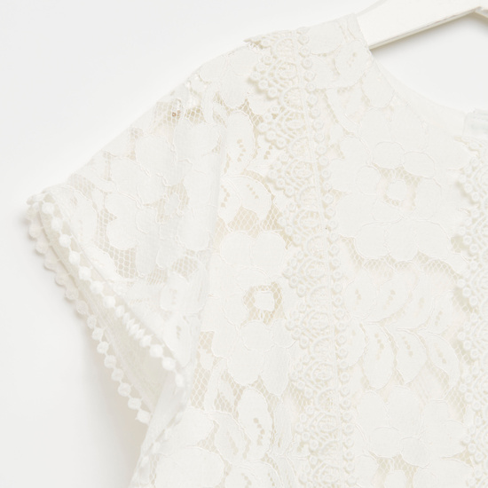 Lace Cape Jumpsuit with Button Closure