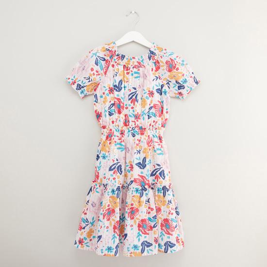 فستان ميدي بطبعات وأكمام قصيرة