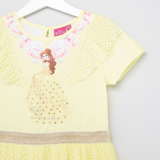 Disney Belle Textured Dress with Round Neck and Cap Sleeves