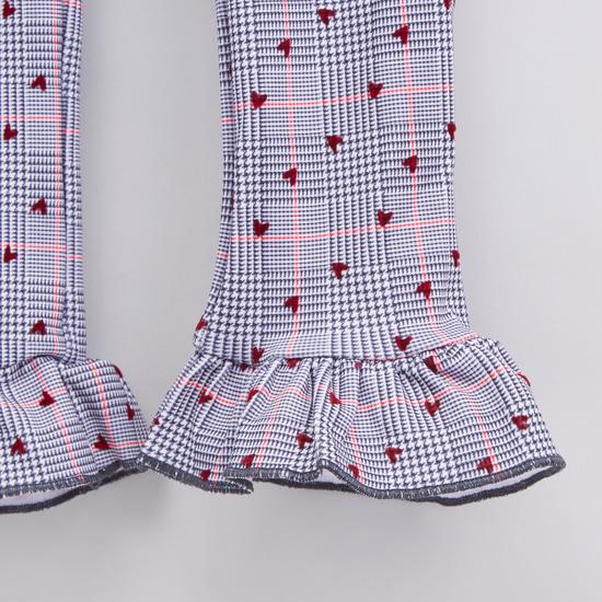Denim Long Sleeves Shirt with Printed Leggings