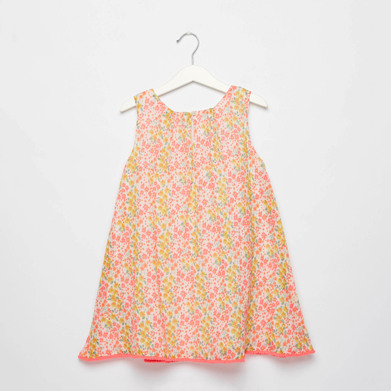 All-Over Print Trapeze Sleeveless Dress with Sequin Detail