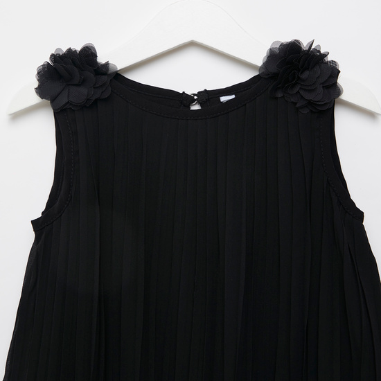Solid Pleated Sleeveless Dress with Flower Applique Detail