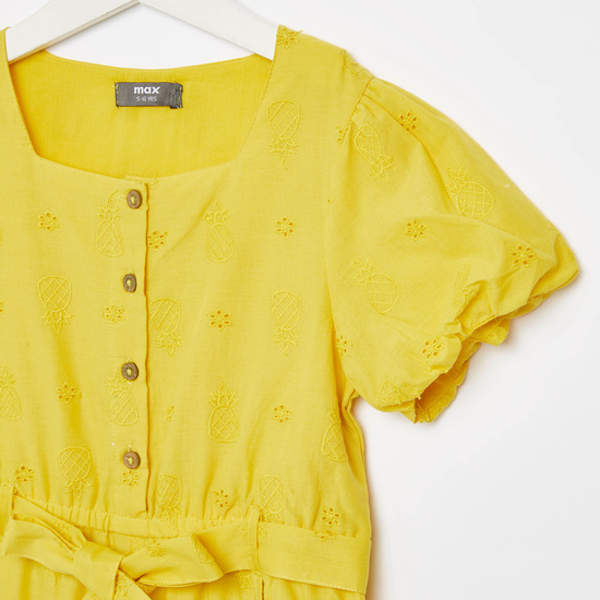Pineapple and Schiffly Embroidered Jumpsuit with Short Sleeves