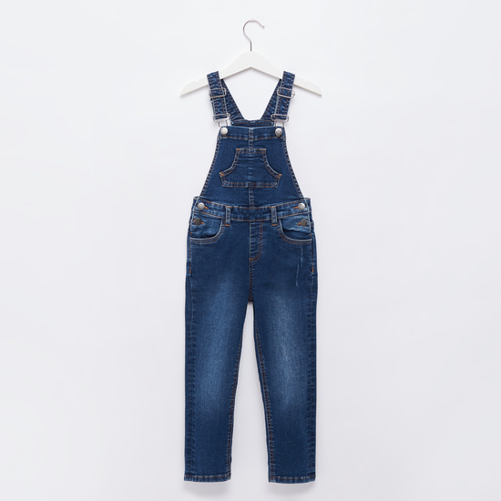 Solid Dungarees with Adjustable Straps and Pockets
