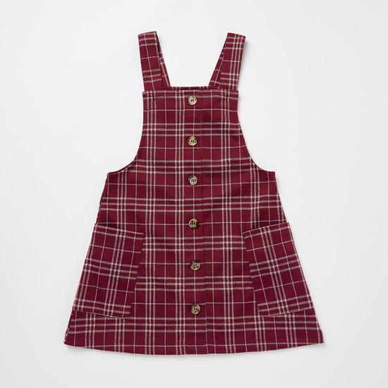 Checked Pinafore Dress and Ruffled Neck Top Set