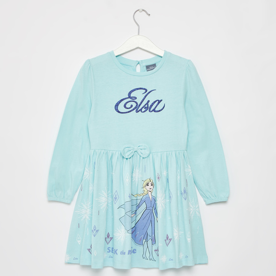 Elsa Graphic Print Mini Dress with Long Sleeves and Bow Applique