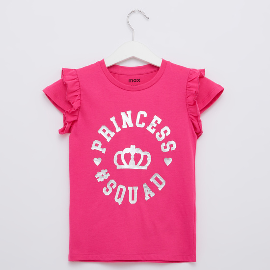 Typographic T-shirt with Round Neck and Cap Sleeves
