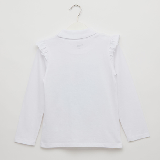 Graphic Print T-shirt with Turtleneck and Long Sleeves