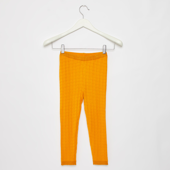 Full Length Cable Knit Sweater Leggings with Elasticated Waistband