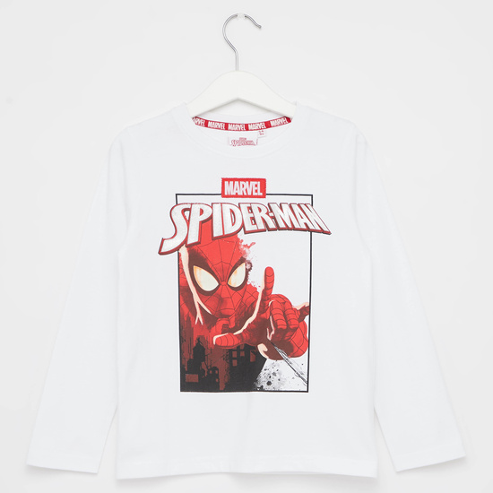Spider-Man Print T-shirt with Round Neck and Long Sleeves