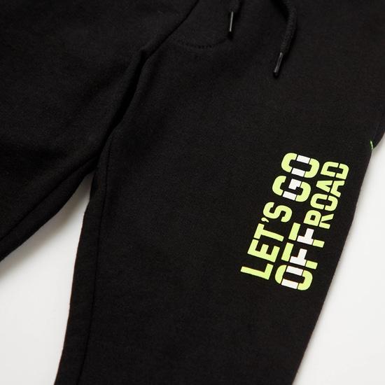 Printed Round Neck T-shirt with Full Length Jog Pants Set