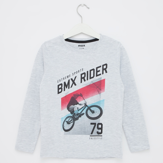 Graphic Print T-shirt with Long Sleeves and Round Neck