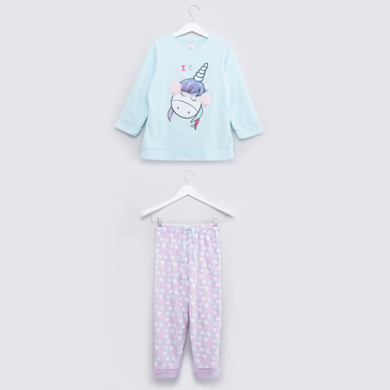 Cozy Collection Round Neck T-shirt and Printed Jog Pants Set