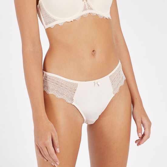 Set of 2 - Lace Detailed Bikini Briefs with Elasticated Waistband
