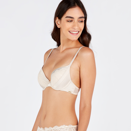 Pleated Padded Wired Plunge Bra with Hook and Eye Closure