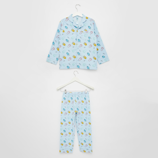 Cozy Collection Printed Collared Shirt and Pyjama Set