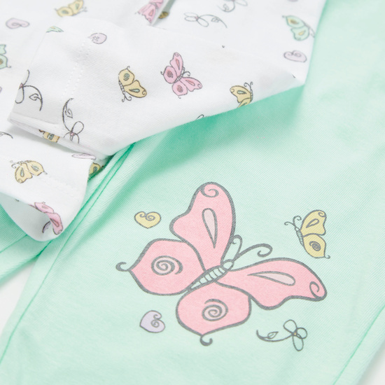 Pack of 2 - Butterfly Print Round Neck T-shirt and Full Length Pyjamas