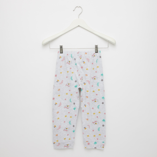 Pack of 2 - Printed Round Neck T-shirt with Full Length Pyjama Set