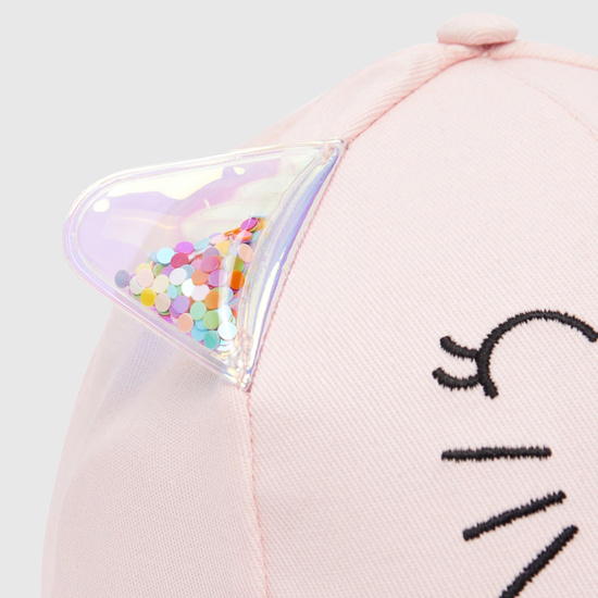 Embroidered Cap with Ear Extensions