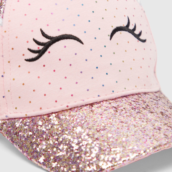 All-Over Printed Embellished Cap with Hook and Loop Closure