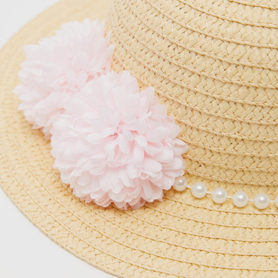 Bead Embellished Straw Hat with Floral Applique