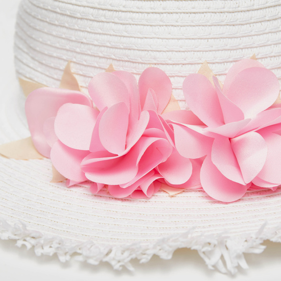Textured Hat with Flower Applique Detail