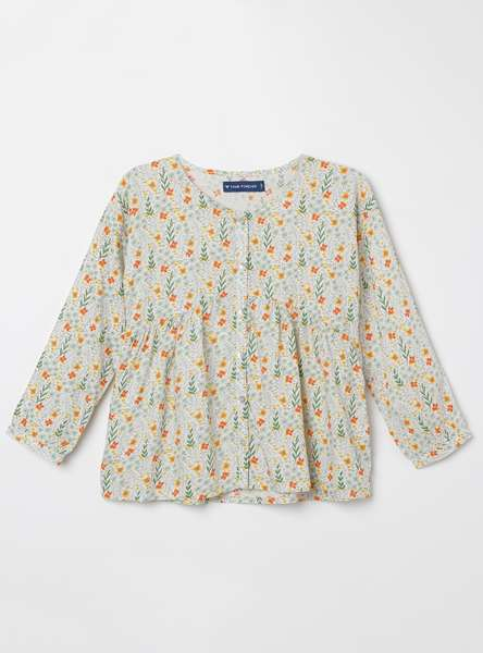FAME FOREVER KIDS Floral Print Top with Button Placket