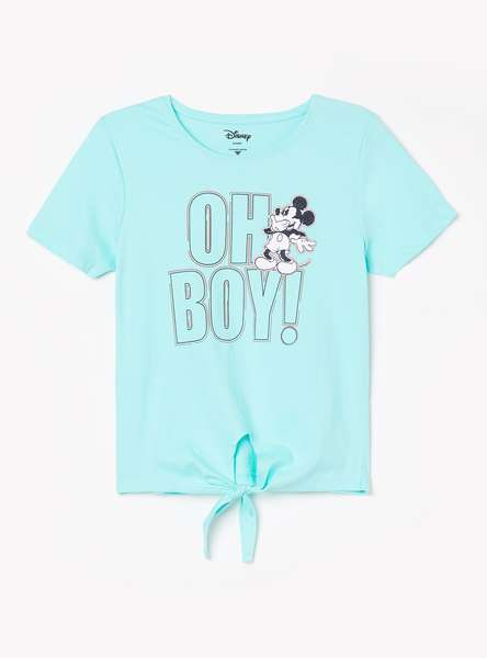 FAME FOREVER KIDS Girls Mickey Print Top with Tie-Up Hem