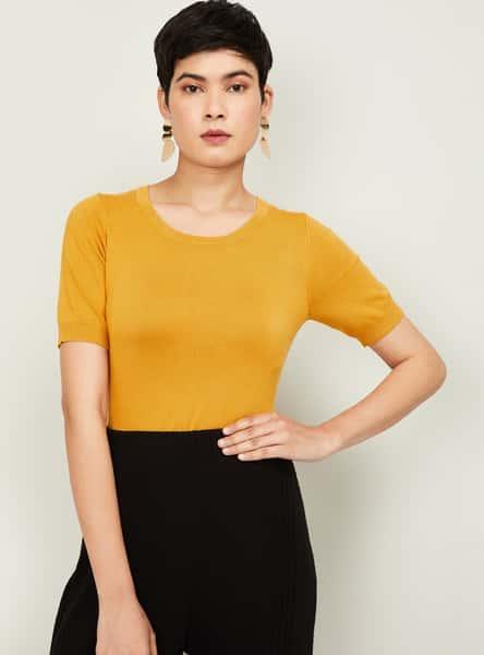 BOSSINI Women Textured Short Sleeves Knit Top